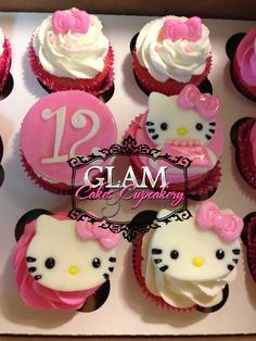 Hello Kitty Cupcakes W/edible toppers  Facebook.com/glamcakescupcakery