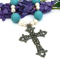 #Italian Style Pewter #Cross #Necklace with #Turquoise agnesite and Devotion #Pearls #Handmade by @ShadowDog #ShadowDogDesigns #Jewelry on #ArtFire - $115.00