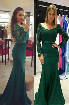 Plus Size Prom Dress, Graceful Forest Green Lace Evening Dresses , Elegant Long Sleeves Mermaid Prom Gowns Shop plus-sized prom dresses for curvy figures and plus-size party dresses. Ball gowns for prom in plus sizes and short plus-sized prom dresses Green Long Sleeve Dress, Long Sleeve Evening Dresses, Prom Dresses Long With Sleeves, Formal Evening Dresses, Dress Long, Evening Gowns, Evening Party, Sleeve Dresses, Formal Prom