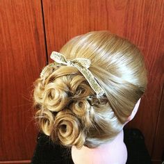 Prom/formal style updo with a ribbon