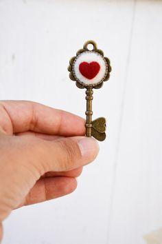 Heart key Alice in Wonderland pendant love key charm by Pupillae