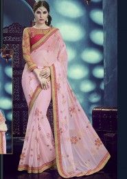 Designer Pink Colored Net Saree