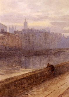 Rose Barton (1856-1929)  Evening On The River Liffey With St. John's Church In Distance  Watercolour  1905