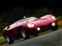 The ultra rare 1961 Ferrari 250 TRI61 featuring a unique pointy, shark-nose front end and a Kamm-tail in the rear