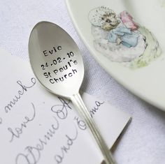 I've just found Personalised Silver Plated Christening Spoon. Beautiful silver plated christening teaspoon personalised with your choice of words on the spoon face. Silver Cutlery, Vintage Cutlery, Silver Plate, Personalised Christening Gifts, Baptism Gifts, Baptism Ideas, 30 Gifts, Baby Gifts, Unique Gifts