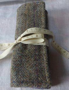 Harris Tweed Crochet Needle Roll by TheFabulousMrG on Etsy, $38.00