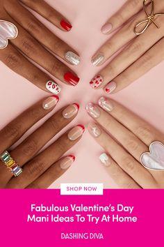 Stylish Nails, Trendy Nails, Cute Nails, Cute Nail Colors, Nail Polish Colors, Acrylic Nail Brush, Hair Tricks, Valentine Nails, Pretty Nail Art