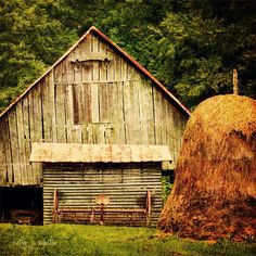 Old Weathered Barn...mounded haystack.