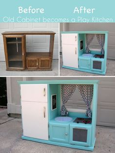 That old entertainment center makes the perfect kid size kitchen! Transform that old, at one point pricey cabinet into an awesome play place for the kids! Genius.