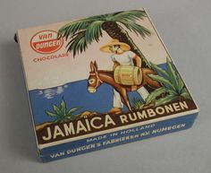 """An old box """"Jamaica rumbonen"""" by """"Van Dungen Factory"""" from Nijmegen Holland, there is brown Rum inside Sugar & Chocolate coating, i have a tin with the same Decor and significant larger, for Sale, from the Jamaica, Love The Earth, Good Old Times, The Old Days, Do You Remember, Sweet Memories, Vintage Posters, Childhood Memories, Back In The Day"""