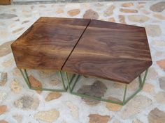 walnut and powder coated coffee table. by alma allen.