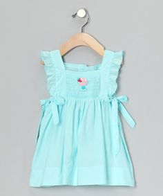 Take a look at this Aqua Ice Cream Smocked Ruffle Dress - Infant & Toddler by Fantaisie Kids on #zulily today!