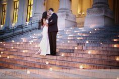 tea lights on the steps
