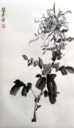 Japanese Ink Painting, Sumi E Painting, Chinese Painting, Chinese Art, Japanese Art, Chinese Brush, Art Chinois, Art Asiatique, Tinta China