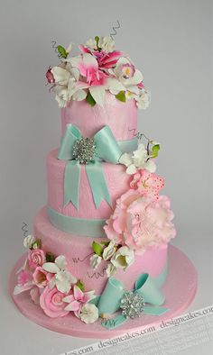 pink cake with turquoise ribbons and bows Unique Cakes, Elegant Cakes, Creative Cakes, Fancy Cakes, Cute Cakes, Pretty Cakes, Pink Cakes, Gorgeous Cakes, Amazing Cakes