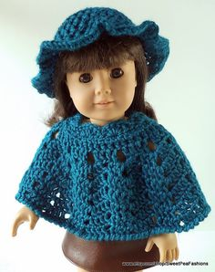 American Girl Teal Crocheted Poncho and Hat by SweetPeaFashions, $9.00