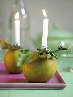 Tolle Sommer Abend Party Deko - Die Apfel Kerze. Bei zuviel Wind einfach in ein Windlicht stellen. | Summer evening party decoration - the apple candle. If to heavy winds occure put it in a big glass - the apple wind light....