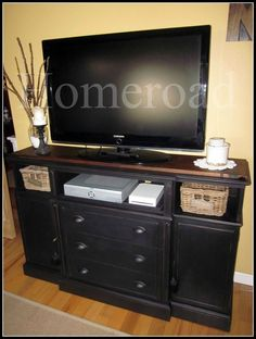 repurposed tv console | repurposed china cabinet into tv stand | Upcycle Recycle Repurpose