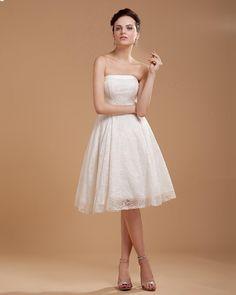 Lace Short Bridal Gown Wedding Dress  A-line/Princess, Knee Length, Natural, Strapless, Sleeveless, Zipper, Lace, Beach/Destination, Garden/Outdoor, Spring, Summer, Fall,