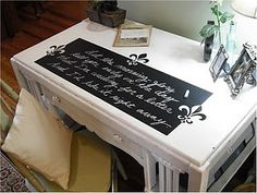 DIY Desk Makeover using chalk paint, book pages and imagination!!!! BRAVO TUTORIAL