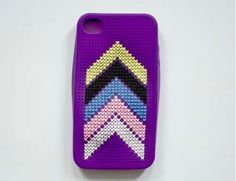 Purple Phone Case With Colours Arrows- cross-stitch