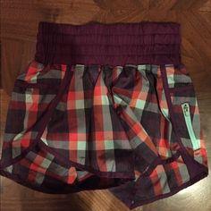 Lululemon Running shorts Purple plaid; never worn lululemon athletica Shorts