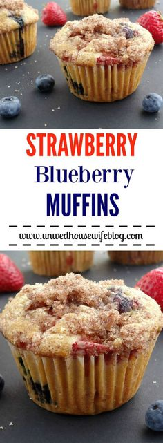 Strawberry Blueberry Muffins | Unwed Housewife | Big, bakery style muffins made with fresh strawberries and blueberries and topped with a cinnamon sugar crumble.