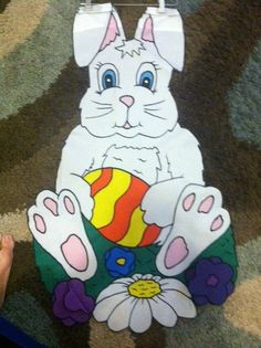 Easter Bunny and Egg Large Decorative Flag by FlagsbyKathy on Etsy