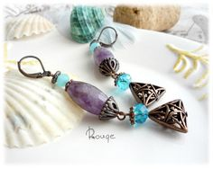"Earrings ""Mountain Lavender"", earrings with amethyst, purple earrings, lavender earrings, copper earrings, long earrings by RougemarketJew on Etsy"