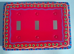 Hand Painted Red Triple Light Switch Cover by LisaFrick on Etsy