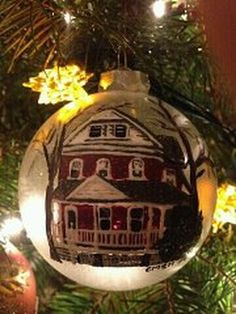 Hand painted, personalized ornament Christmas Balls, Christmas Ornaments, Hand Painted Ornaments, Personalized Ornaments, Cottage Homes, Holiday Decor, Holiday Ideas, Art Projects, Crafty