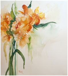 """Alstromeria"" watercolor by Angela Fehr"