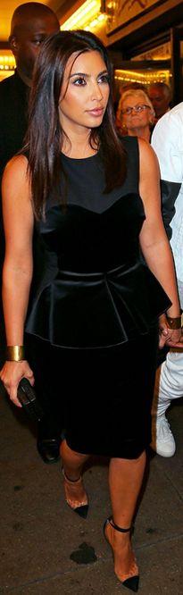 Kim Kardashian wearing Christian Louboutin Un Bout 120mm Stella McCartney dress. Kim Kardashian Book of Mormon on Broadway in New York City July 28 2012.