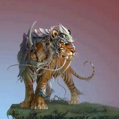 tigre à dents de sabres en armure