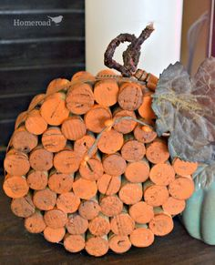 Pumpkin Wine Cork Trivet by Homeroad on Etsy Wine Craft, Wine Cork Crafts, Wine Bottle Crafts, Fall Crafts, Halloween Crafts, Holiday Crafts, Diy Crafts, Sharpie Crafts, Ribbon Crafts