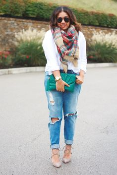 Ripped Jeans + Blanket Scarf