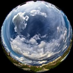 Summer Sky, Budapest, Hungary, via a fisheye lens, by Andras Horvath