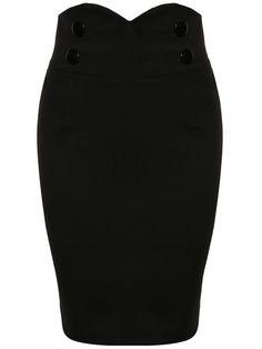 Decorative Button Plain Slit Pencil Midi Skirt