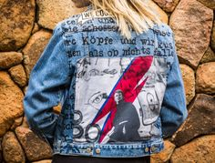David Bowie at the Berlin Wall jacket with hand painted quotes denim jacket by @ceuhandmade