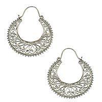 Sterling silver hoop earrings, 'Bali Story' by NOVICA