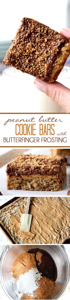 Soft chewy peanut butter cookie bars slathered in a layer of creamy peanut butter and topped with decadent Butterfinger chocolate frosting. super easy and great for crowds! #cookiebars #peanutbuttercookies #cookies #butterfingers