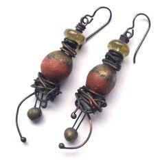 Rustic Bohemian Earrings Edgy Ceramic Jewelry by SheFliesAgain