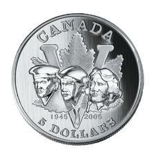 Pièce de 5 $ en argent fin – 60e anniversaire de la fin de la Deuxième Guerre mondiale (2005)
