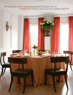 Sophisticated with fun coral curtains