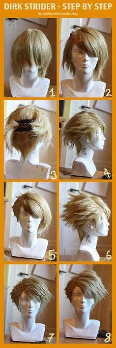 Dirk Strider -- Wig Cosplay tutorial DIY (I love a good anime-style wig tutorial!)