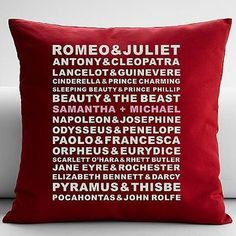 Personalized Famous Couples Throw Pillow w/Insert - - Red - Personal Creations Gifts