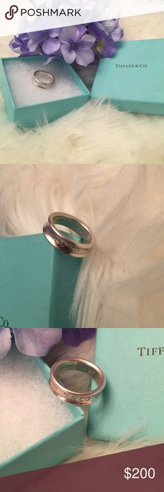 Tiffany and Company Ring Authentic Tiffany! 1997 Tiffany and Co. 925 stamped inside and 925 T & CO 1837 stamped on outside! Comes with box! Has not been cleaned at all.💕 Tiffany & Co. Jewelry Rings