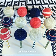 Coral, navy and white bridal shower cake pops.