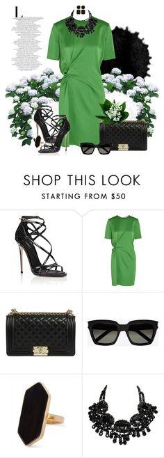 """Green + Black - 060616"" by vixen-vixen ❤ liked on Polyvore featuring Dolce&Gabbana, Lanvin, Yves Saint Laurent, Jaeger, Kenneth Jay Lane, black, GREEN, Chanel and dolceandgabbana"