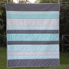 This fabric inspired me to try the crib sheets. Quilt Baby, Baby Boy Quilt Patterns, Cot Quilt, Stripe Quilt Pattern, Striped Quilt, Quilt Inspiration, Baby Sewing Projects, Girls Quilts, Easy Quilts